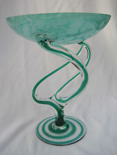 Estate, Stunning and Unique Green Art Glass Compote or Pedestal Bowl from Poland