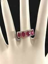 Sterling Silver Ruby And Rhinestone Signed KJ And 925 RING SZ 7
