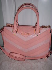 NWT Michael Kors Selma Leather Medium Top Zip Chevron Pale Pink Satchel Handbag