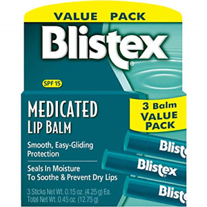 Blistex Medicated Lip Balm, 0.15 Ounce Pack of 3