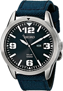 Seiko Men'S SNE329 Sport Solar-Powered Stainless Steel Watch with Blue Nylon Ban