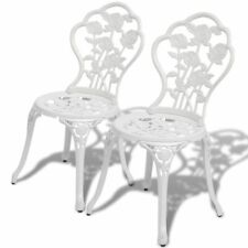 vidaXL 2 pcs Bistro Chairs Outdoor Patio Dining Chairs White Cast Aluminium
