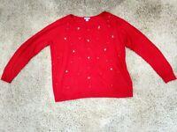 Laura Scott Beaded Red Rhinestone Embellished Thin Knit Sweater Size 1X
