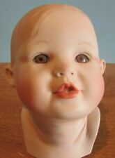 "Vintage Porcelain/Ceramic Head Parts 4"" Brown Eyes/Brown Molded Hair Baby Doll"