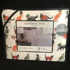 London Fog KING SIZE brushed cotton flannel CATS SHEET SET - NEW