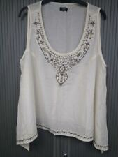 Embellished Ivory / Cream Top Embellished with Beads - Size 20 - 100% Cotton