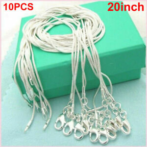 10/20X Wholesale 925 Sterling Silver Stamp Shiny Snake Chain Necklace Jewelry UK