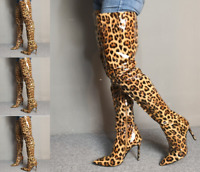 Women Pointy Toe High Stiletto Heel Shoes Over Knee Thigh Boots Side Zip Leopard