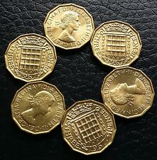 1967 UK Great Britain 3 Pence KM# 900 BU  Threepence 6 Lustrous Coins QEII