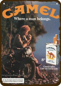 1982 CAMEL MAN & CIGARETTE Motorcycle Vintage-Look DECORATIVE REPLICA METAL SIGN