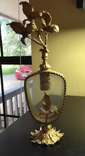 VINTAGE GLOBE IRIS 24K GOLD PLATED FILIGREE BEVELED GLASS VANITY PERFUME BOTTLE