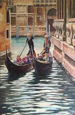 "DAVID ALDUS ORIGINAL  ""Two Venice Gondolas"" Venetian Italian Italy OIL PAINTING"