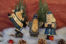 Antike 30 iger Jahre Weihnachtsdeko aus Holz Trio Weihnachtsmänner handgefertigt