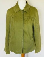 Marks & Spencer Size 16 Ladies Green Jacket Coat, Long Sleeve Casual 100% Cotton