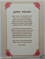 """Goin' Home"" Poem by Edna Jaques - Print for Framing with Roses Artwork -"
