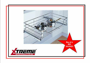 Kitchen Chrome Wire Basket to suit 450mm, 4 pack SAVE £ Pull Out Storage Bedroom