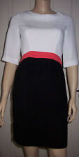 ATMOSPHERE Black White & Pink 3/4 Sleeve Zip Up Back Party Dress Size: 8