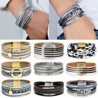 Multi-layer Punk Leather Wrap Bracelet Charm Bangle Party Fashion Jewelry Gift