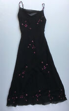 Betsey Johnson Black Silk Slip Slink Strap Prom Dress Sequins Raised Roses Sz 6