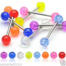 Tongue Bar UV Glitter Acrylic Ball 316 Surgical Barbell Body Piercing Jewelry