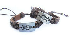 Dark Brown Leather, Simple Fish with Jesus Bangle Christian Bracelet (Pack of 2)