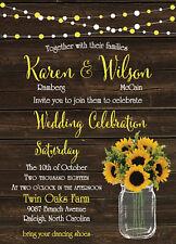 100 Wedding Invitations Suite Sunflower Rustic Mason Jar with Envelopes