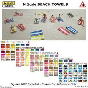 BEACH TOWELS, N Scale, N Gauge for Model Railway Dioramas Beach Scene Sunbathers