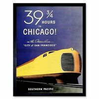 Travel Southern Pacific Chicago Usa Train Rail Vintage Advertising Framed Print