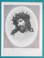ECCE HOMO Christ Crown of Thorns 15th C Wood Sculpture - 1892 Antique Print