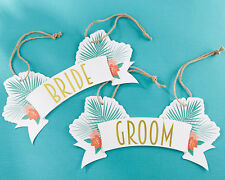 Tropical Chic Bride and Groom Chair Signs Beach Wedding Bridal Shower Decoration