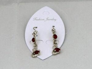 Ladies Fashion Earrings drop dangle red stone costume jewellery