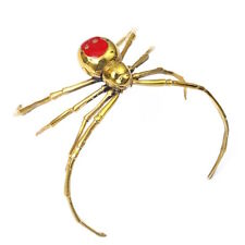 Spider bangle in brass with red enamel