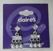 k crystal faux pearl bridal petite dangle EARRINGS jewelry