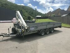 Tri axle Ifor Williams trailer with ramps and large hiab crane