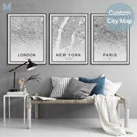 World City Map London Paris New York Poster A4 Nordic Home Decor Canvas Painting