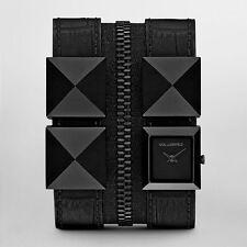 New $350 Karl Lagerfeld Black Leather Double Zip Bracelet Watch KL2012