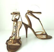 GUESS   Size 37 Metallic Bronze Leather Stiletto High Heel Sandals Shoes