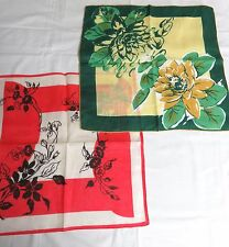 "2 Vintage Large Print Handkerchiefs- Green Floral / Red Floral  15"" square"