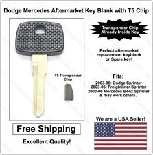 New 2003-06 Dodge Mercedes Sprinter Key Blank with T5 Transponder Chip Inside!