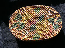 Antique 19th Century Woven Wicker Rattan Hand Painted Covered Basket Box