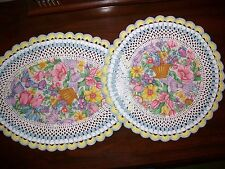 New Handmade Set of 2 Crochet Doilies: Springtime/Flowers/Baskets/Bows
