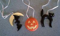 Longaberger Halloween tie-on Ornament set of 3: cat, jack o lantern, bat NEW