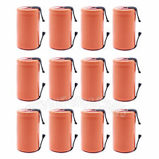 12 pcs SubC Sub C 2900mAh 1.2V NiMH Rechargeable Battery Cell with Tab Orange
