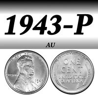 1943-P STEEL LINCOLN BRIGHT CLEAR ALMOST UN-CIRCULATED PENNY===AU===STEEL===