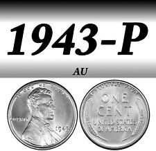 1943-P Steel Lincoln Bright Clear Almost Uncirculated Penny=Au=Steel=