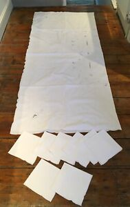 Very large white embroidered tablecloth 200 x 175cm with 8 napkins perfect