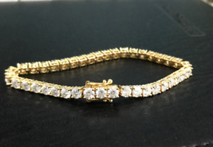 """10.0Carat Round Cut Synthetic Moissanite 7"""" Tennis Bracelet 14K Yellow Gold Over"""