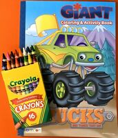 Giant Coloring & Activity Book, TRUCKS & VEHICLES, 16 Ct. Crayola Crayons, NEW