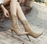 Mid-Calf  Boots High Stiletto Heel Women's Roman Shoes Pointed Toe Cross Strappy