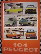 brochure PEUGEOT 104 GL6 GL SL 1978 / COULEURS / FRANCAIS